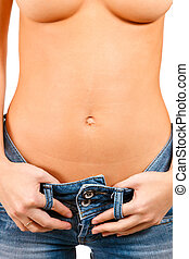 Torso of a girl in blue jeans