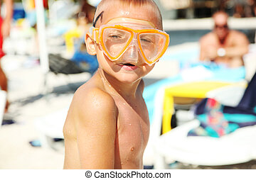 Boy in diving mask