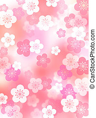 Plum blossoms background - Japanese style design of plum...