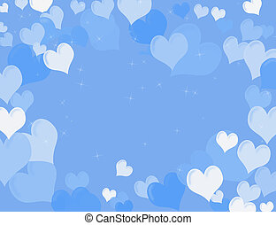 Heart Background - White and blue hearts on a blue sparkly...