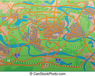 Geographical map conditional city in a vector for a...