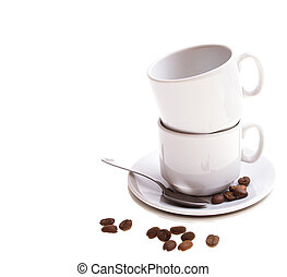 coffee beans, cup, isolated on white background