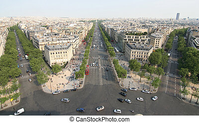 Champs Elysee in Paris, as seen from the Arc de Triomphe