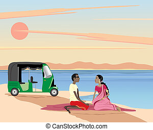 lakeside picnic - an illustration of an asian couple sitting...
