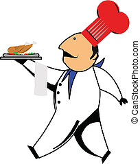 executive chef - head chef with red hat and blue scarf...