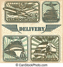 Transportation set stamp - The vector image of...