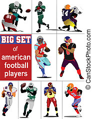 Big set of American football player s silhouettes in action....