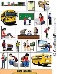 grande, escuela, Conjunto, escuela, espalda