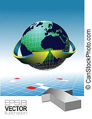 World globe - editable vector illu