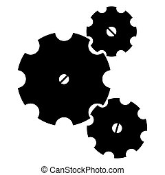 Three Gearwheels - Three black sketchy gear wheels on a...