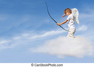 Valentines, día, concepto, cupido, nube, disparando,...