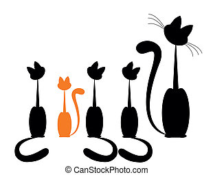 family cat - Black cat silhouette for your design and one...