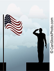 Silhouette of an army soldier on a platform saluting a usa...