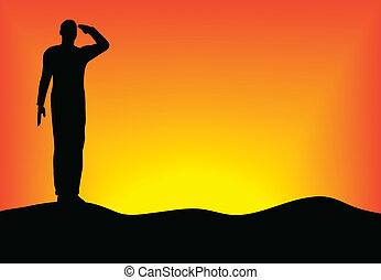 Silhouette of an army soldier saluting on hills against...