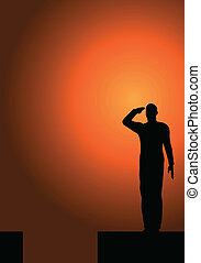 Silhouette of an army soldier salut - Silhouette of an army...