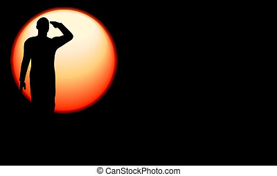 Silhouette of an army soldier saluting on hills against sunset