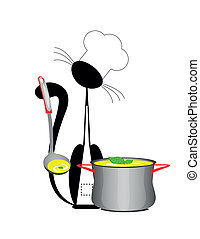 cat cook - An illustration of a cat the cook with a pan