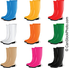Colored rubber boots vector set - Vector set of rubber boots...