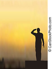 Silhouette of an army soldier on a platform saluting
