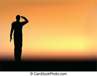 Silhouette of an army soldier salut