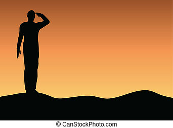 Silhouette of an army soldier