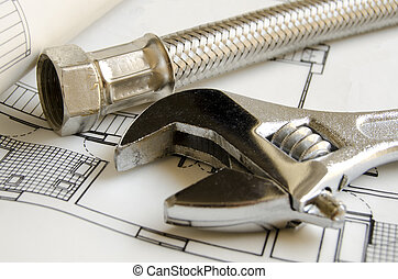 Plumbing tools on house blueprint - Detail of plumbing tools...