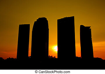 Office Building Silhouette - Modern office building...
