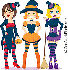 Halloween Women - Three beautiful young women in colorful...