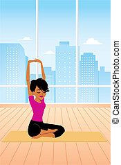 Woman practicing Yoga Sitting - One illustration of a...
