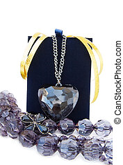 Black heart crystal pendant