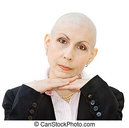 Portrait of cancer patient undergoing chemotherapy and loss...