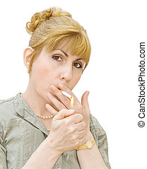 Addiction - woman smoking - Portrait of woman smoking -...