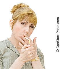 adicción, -, mujer, Fumar