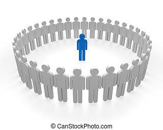 3d leader blue team circle people teamwork