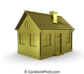Golden House on a white background