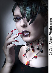 Fashion portrait of Lady vamp - vampire gothic make-up style...