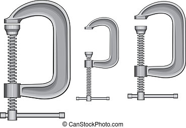 C-Clamp - Illustration of three sizes of C-Clamps. Vector...
