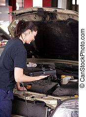 kobieta, mechanik, maszyna, diagnostyka, instrument
