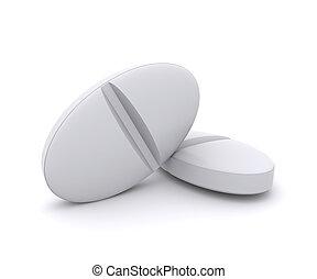 Two white pills on white background