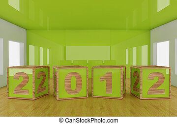 Happy new year 2012 cube shape on a room