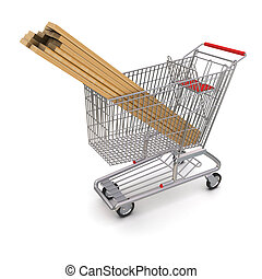 Trolley full of lumber 3d rendering