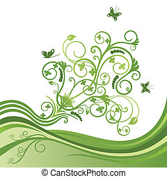 Green flower and butterfly border - Green elegant flower and...