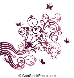 Purple flower and butterfly ornate - Purple flower and...