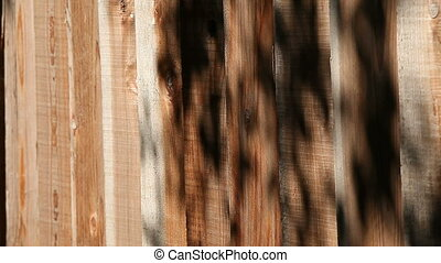 fence with shadows of leaves - a wood fence with overhanging...