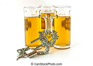 Fun or addictive - Three pints of beer shackled with chains...