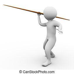 3d man javelin throw - 3d man throwing javelin on the white...