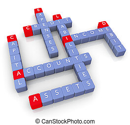 Crossword of accounts - 3d render of crossword of accounts...