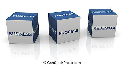 BPR - Business process redesign - 3d text cubes of BPR -...