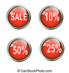 Set of shiny discount button - Set of glossy and shiny...