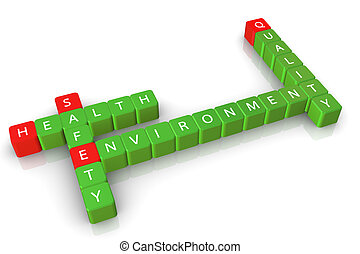 Safety health environment quality - 3d crossword of safety...